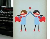 Super High Five - Girls - Note Card
