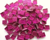 100 MINI Hot Pink/Fuchsia GLITTER Metallic Glass Mosaic Tiles// Mosaics// Mosaic Supplies
