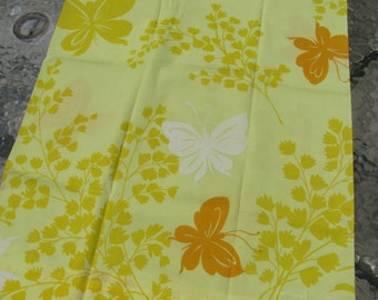 Standard Pillowcase - Vintage -Gold Yellow Orange Butterflies and Flowers