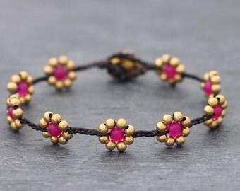 Fuchsia Daisy Brass Braided Bracelet