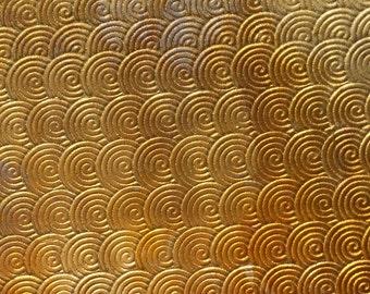 Brass Textured Metal Sheet Circle Weave Pattern 26g - 6 1/8 x 2 inches - Bracelets Pendants Metalwork