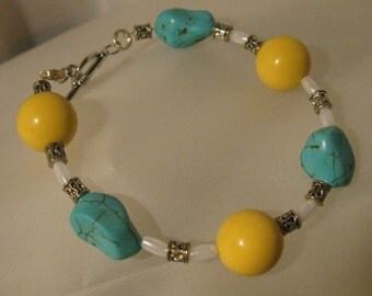 Yellow and Turquoise Bracelet #165