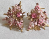 Vintage Flower and Rhinestone and Enameled 1950s Style Clip on Earrings shades of Pink with Gold toned metal