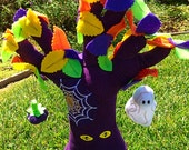 Halloween Plush Tree - Halloween Decorative Tree with spooky Eyes Spiderweb Ghost and Jack O'Lantern - Kids Safe Halloween Decor or Toy