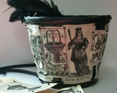Decoupaged Basket Tarot Cards Black and White Embellished OOAK Repurposed
