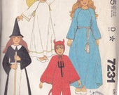 Child's Witch ~ Devil ~  Angel ~  King & Queen Halloween Costume Pattern Mc Call's 7231 Children's Size Large ~ Cut But Complete