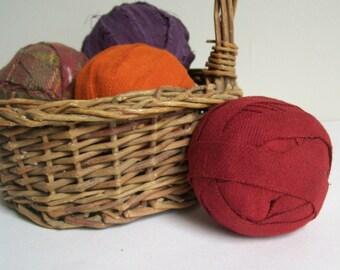 Warm Fall Colors Set of 4 Primitive Rustic Rag Balls