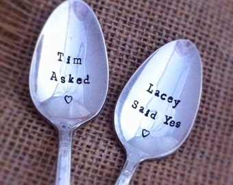 Personalized Hand Stamped Vintage Silverplate Engagement Spoons