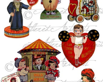 Instant Download Circus Valentine Vintage Digital Clip Art Collage Sheet Clown