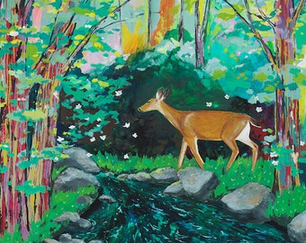 Enchantment // 11 x 14 large eco-friendly wall art forest deer print