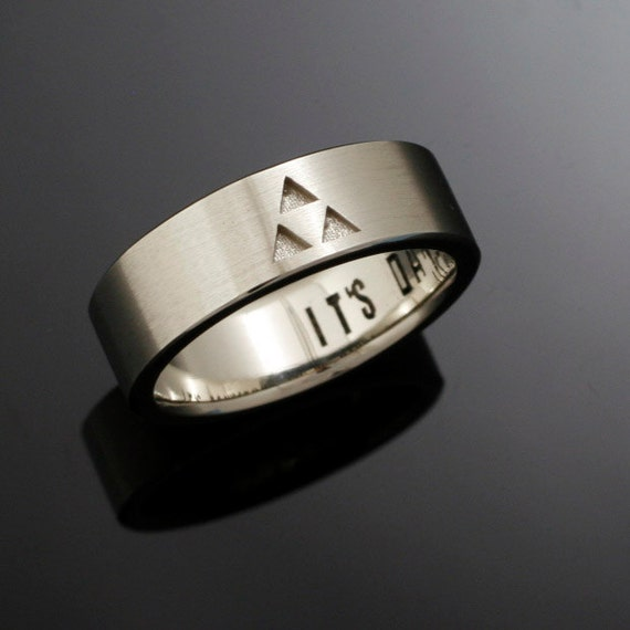 14k Its Dangerous to Go Alone Triforce Wedding Band