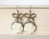 White Rose Flower Vintage Bronze Bow Earrings Vintage Inspired, Charming, Wedding, Girly