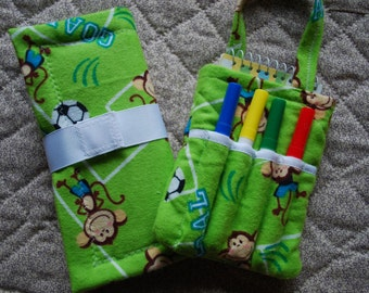 Two Piece Gift Set - Mini Chalkboard to Go and Little Author Tote - soccer monkeys