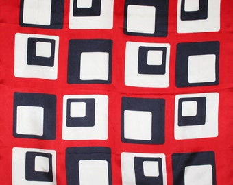 Mod squares. Mid century Italian scarf in red, white and  navy blue