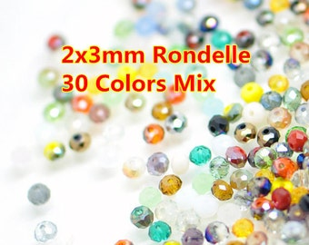 500pcs Rondelle Crystal Glass Faceted Beads 2x3mm  Mix Set -MX15