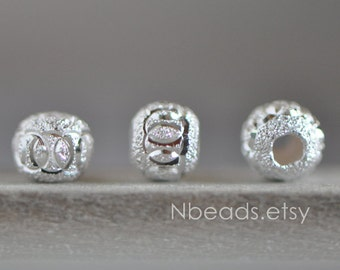 925 Sterling Silver Round Beads 4mm, Matte Silver Spacer Beads  (S003-4)/ 10 beads