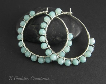 Amazonite Hoop Earrings, Sterling Silver Wire Wrapped, Aqua Blue Gemstone Hoop Earrings