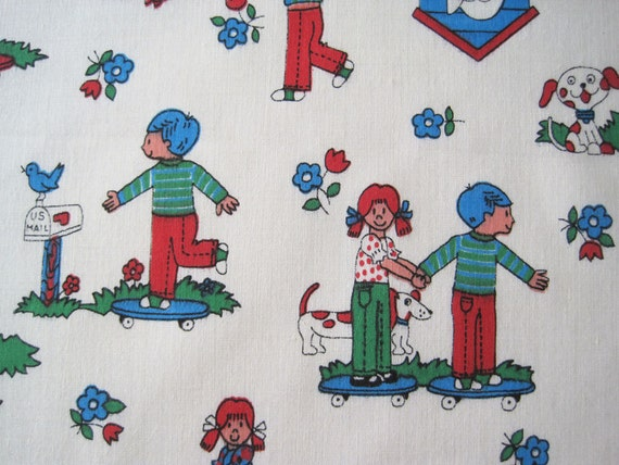 Vintage novelty kids children juvenile poly blend fabric for Kids novelty fabric