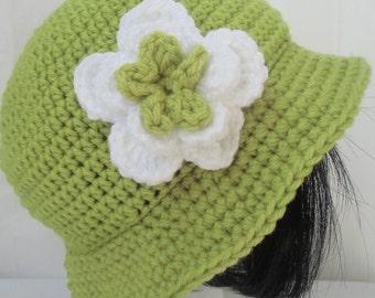 Crochet Brim Hat, Crochet Spring Brimmed Hat, Crochet Summer Hat, Crochet Summer Hat, Crochet Hat with Flower, Flower Hat, Women Summer Hat