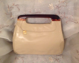 Vintage Anne Klein Clutch Purse Beige Preppy Classic Chic Handbag Traditional Style