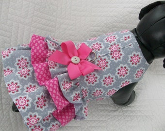 Dog Dress with three ruffles and built in harness