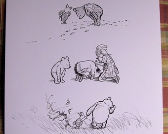 winnie the pooh piglet and christopher robin- hand drawn art (not print!!) in style of E H Shepard with pooh quote