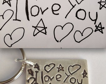 To Daddy from Daughter - Your Child's Actual Drawing Made Into a Silver Keychain