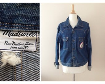 1950s Madewell denim jacket / 50s jean jacket with patches