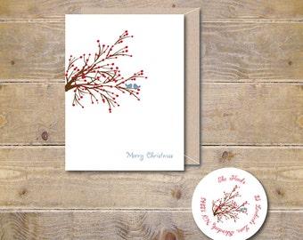 Christmas Cards, Holiday Cards, Love Bird Christmas Cards, Love Birds, Christmas Card Set, Holiday Card Set, Winterberries, Birds