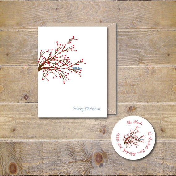 Christmas Cards, Holiday Cards, Love Bird Christmas Cards, Love Birds, Christmas Card Set, Holiday Card Set, Winterberries, Birds