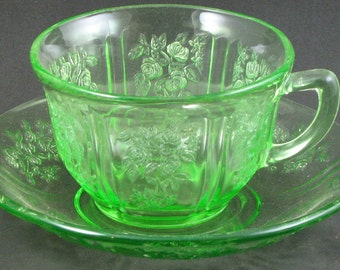 Vintage Sharon, Cabbage Rose Green Cup and Saucer Sets, (7 Available)