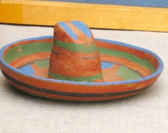 Folk Art , Folk Art Hat , Ceramic Hot , Sombrero , Mexican Folk Art , Mexican Ceramic , Souvenir Sombrero , Miniature , Rustic Decor