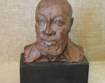 Male Bust , Male Portrait , Male Bust , Portraiture , Sculpture , Statue , Handmade , Ceramics , Pottery , African American , Hand Sculpted