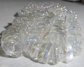 Quartz Beads 16 X 4mm Smooth Clear Aurora Borealis Coated Crystal Quartz Middle Drilled Ovals - 12 Pieces