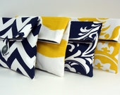 Navy and Yellow Bridesmaid Clutch Set of 4 / Navy and Yellow Wedding / Bridesmaid Gift