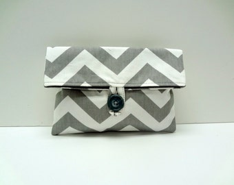 Gray Chevron Clutch Chevron Bridesmaid Gift - READY TO SHIP