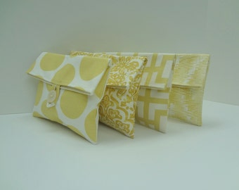 Yellow Clutch Set of 4 Bridesmaid Clutches