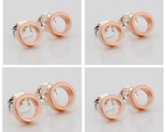 Set of 4 Bridesmaid Gift  - Gold Stud Earings - Rose Gold Earrings - Geometric Jewelry - Wedding Studs - Bridesmaid Gift