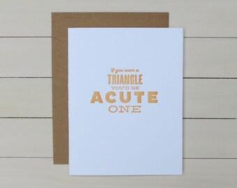 acute triangle pick-up line letterpress card