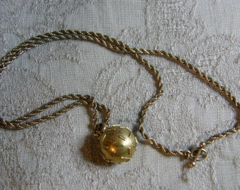 Vintage necklace with unusual ball pendant and twisted rope chain