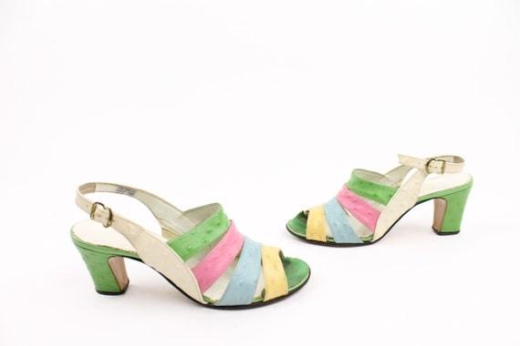 60s Sandals Chunky Heels Pastel Color Block Summer 7 Vintage 1960s Pumps Spring Summer Fashion