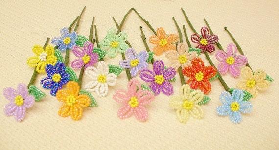 Beaded Flowers ... 19 Handmade Mini Daisies ...