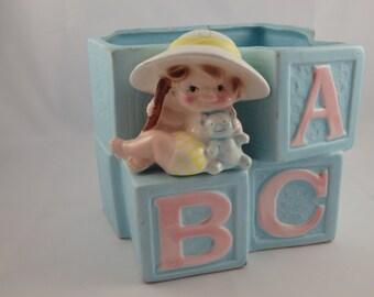 Vintage Alphabet Blocks Planter Nursery Letters Little Girl, Made in Japan, Caddy, Vase