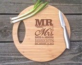 LARGE Mr & Mrs Engraved Cutting Board Circle Cutting Board BAMBOO Cutting Board 11.5 X 11.5 X .5  Personalized Wedding Gift Christmas Gift