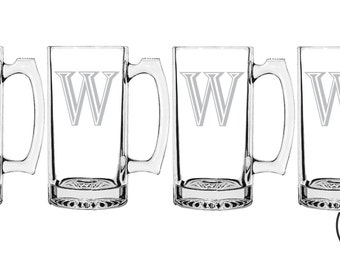 4 MONOGRAM BEER MUGS Etched Beer Mug Gift Wedding Gift Personalized Engraved Beer Set 4 Mug Monogrammed Beer Mug Etched Beer Mug