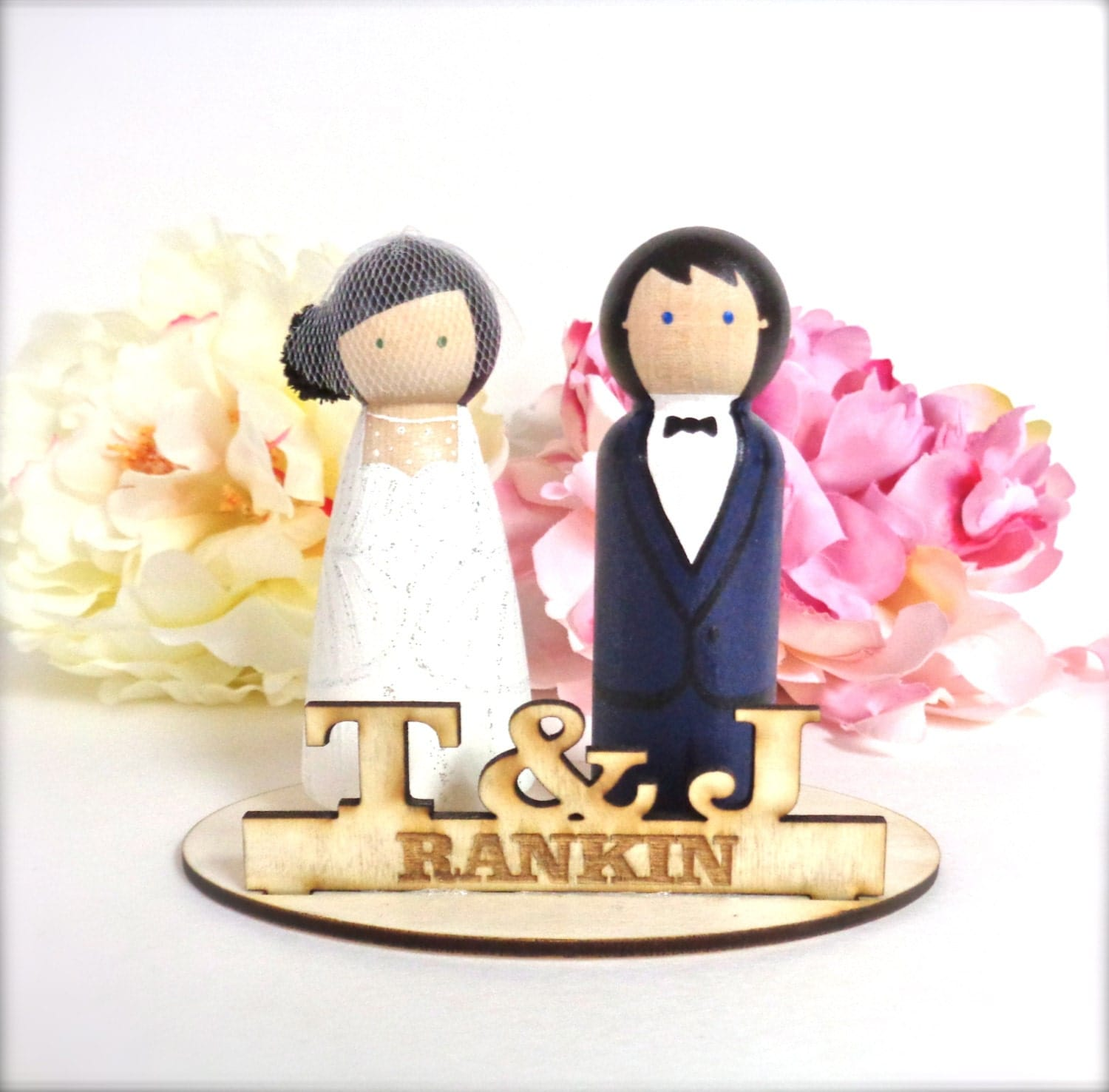 Custom Stand With WEDDING CAKE TOPPER by CreativeButterflyXOX