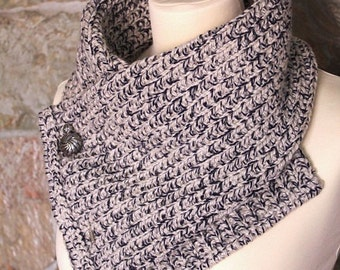 Knitted scarf. Grey & Blue. Neckwarmer. Handmade by T. Catana. Ready to Ship!