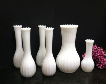 Vintage Milk Glass Vases Set of 6 Assorted Sizes