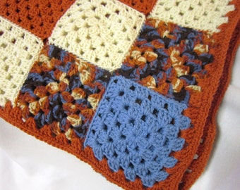 Crochet Granny Square Afghan, Rust, Blue and Cream Crocheted Blanket