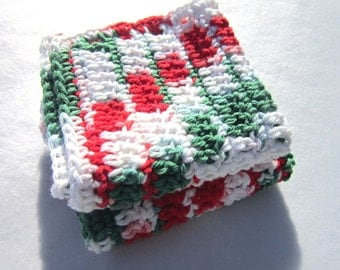 Cotton Christmas Dish Cloths or Wash Cloths, Two Christmas Dishcloths, Extra Large Cloths, Red White and Green Dishcloths